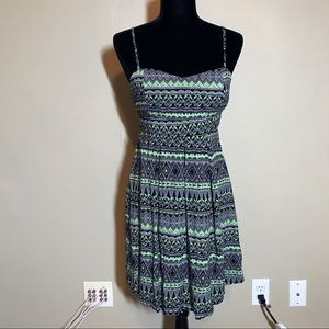 Lime green and black tribal pattern dress